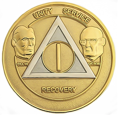 AA Founders - Gold & Silver Bi-Plate Anniversary Medallion | $10.00 | Features: Alcoholics Anonymous founders Bill W and Dr Bob