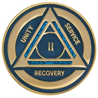 Recovery Emporium Brand | AA | Blue Sparkle on Gold Tri-Plate Anniversary Medallion | $12.00