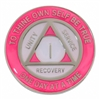 Pink & Glow in the dark Pearl on Silver Tri-Plate Medallion | $12.00 | Features: Alcoholics Anonymous three legacies: unity, service, and recovery.