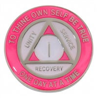 On Sale! $5.00 | Recovery Emporium Brand | AA | Pink & Glow in the dark Pearl on Silver Tri-Plate Anniversary Medallion