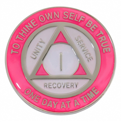 AA Coin - AA Medallion - Pink & Pearl on Silver Tri-Plate medallion featuring Alcoholics Anonymous three legacies: unity, service, and recovery.  A