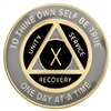 Black-Pearl on Gold Tri-Plate Recovery Medallion | $12.00 each