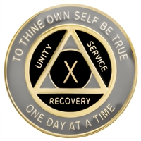 Recovery Emporium Brand | AA | Gray & Black on Gold Tri-Plate Anniversary Medallion | $12.00
