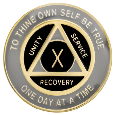 Recovery Emporium Brand | AA | Gray & Black on Gold Tri-Plate Anniversary Medallion | $10.00