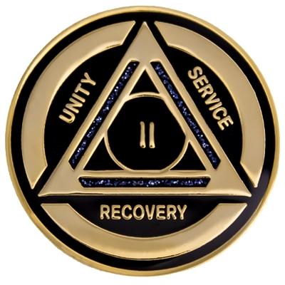 Recovery Emporium Brand | AA | Black Sparkle on Gold Tri-Plate Anniversary Medallion | $12.00