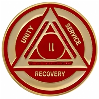 Recovery Emporium Brand | AA | Red Sparkle on Gold Tri-Plate Anniversary Medallion | $10.00