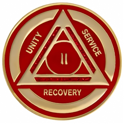 On Sale $8.00 | Recovery Emporium Brand | AA | Red Sparkle on Gold Tri-Plate Anniversary Medallion