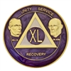 AA Founders - Purple Swirl on Gold Tri-Plate Medallion | $12.00 | Features: Bill W. and Dr. Bob and the circle-triangle AA logo with the Roman numeral in the center.