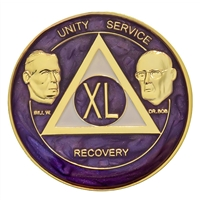AA Founders - Purple Swirl on Gold Tri-Plate Medallion | $12.00 | Features:Alcoholics Anonymous Founders Bill W and Dr. Bob.