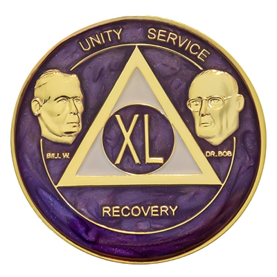 AA Founders - Purple Swirl on Gold Tri-Plate Medallion | $15.00 | Features:Alcoholics Anonymous Founders Bill W and Dr. Bob.