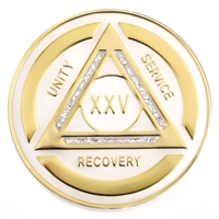 Recovery Emporium Brand | AA | White and Rainbow Sparkle on Gold Tri-Plate Anniversary Medallion | $10.00