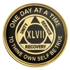 $9.00 Each | Recovery Emporium Brand | Black and Gold Tri-Plate - AA Special Anniversary Medallion