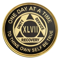 On Sale $7.50!!! | Recovery Emporium Brand | Black and Gold Tri-Plate - AA Special Anniversary Medallion