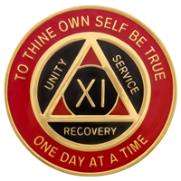 Recovery Emporium Brand | AA | Red & Black on Gold Tri-Plate Anniversary Medallion | $9.00