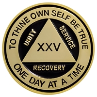 On Sale $8.00 | Recovery Emporium Brand | Bold Gold with Black Painted AA Anniversary Medallion