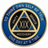 Recovery Emporium Brand | AA | Blue & Black on Gold Tri-Plate Anniversary Medallion | $9.00