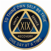 $12.00 | Recovery Emporium Brand | AA | Blue & Black on Gold Tri-Plate Anniversary Medallion
