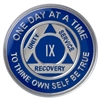 On Sale for $7.50!!! - Recovery Emporium Brand | AA | Blue & Silver Tri-Plate Anniversary Medallion