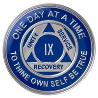 $12.00 - Recovery Emporium Brand | AA | Blue & Silver Tri-Plate Anniversary Medallion