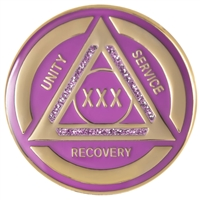 AA Coin - AA Medallion - Purple & Pearl on Silver Tri-Plate medallion featuring Alcoholics Anonymous three legacies: unity, service, and recovery.