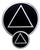 "Chrome on a Black Background - AA Circle-Triangle Logo Sticker - Size - 1.5"" in Diameter"