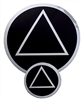 "Black-Chrome AA Logo Sticker - Featuring Classic Circle Triangle AA Logo - 3"" in Diameter"