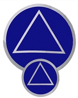"Chrome on a Blue Background - AA Circle-Triangle Logo Sticker - Size - 3"" in Diameter"