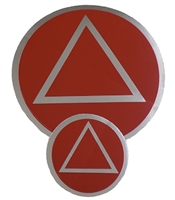 "Red-Chrome AA Circle-Triangle Logo Sticker - Small - Measures 1.5"" in Diameter"