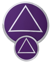 "Chrome on a Purple Background - AA Circle-Triangle Logo Sticker - Size - 1.5"" in Diameter"