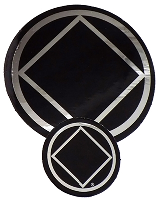"Chrome - Black Diamond within a Circle Logo Sticker - Measurement: 1.5"" in Diameter"