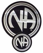 "Chrome - NA Letters Sticker - Black - Measurement: 1.5"" in Diameter"