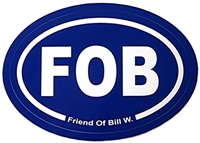 White FOB -  Friend of Bill W. on Blue Oval Sticker