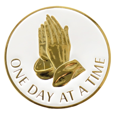 White & Gold-Plated Praying Hands Inspiration Coin