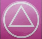 "Classic AA Circle Triangle Logo Sticker in White on a Clear Background - Measures: 3"" Diameter"