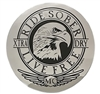 "3"" Diameter Ride Sober Live Free Sticker featuring an eagle head on chrome foil finish"