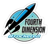 Fourth Dimension ​Hashtag Rocketed Die Cut Sticker