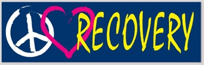 "Peace(symbol), Love(heart), Recovery Sticker - 6"" x 2"" Bumper Sticker"