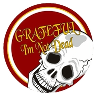 "3"" diameter -  Red, white and gold, Grateful I'm Not Dead Scull Sticker"
