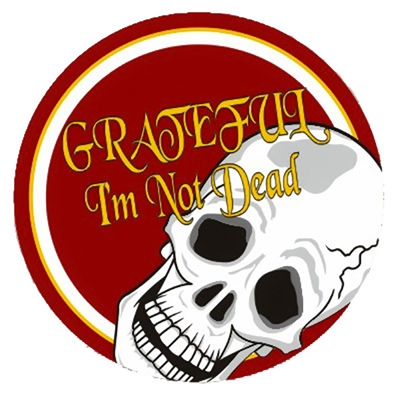 "3"" diameter -  Red, white and gold, Grateful I'm Not Dead Skull Sticker"
