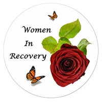 "3"" Diameter White Sticker - Women in Recovery with Rose and Butterflies"