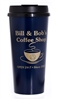 A 20 oz. Blue Travel Mug with Gold Writing - Bill & Bob's Coffee Shop Mug