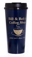 A Blue Travel Mug with Gold Writing - Bill & Bob's Coffee Shop Mug