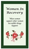 Women in Recovery Verse Card - Green with Red abstract roses and women supporting women quote - Glossy