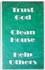 Trust God Clean House Help Others Laminated Verse Card