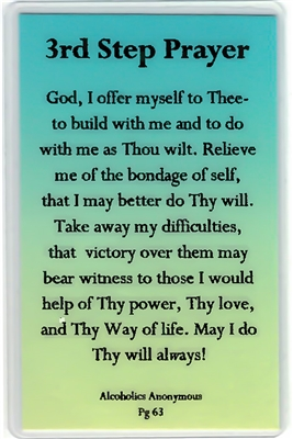 AA 3rd Step Prayer Laminated Verse Card