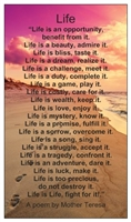 Life Poem by Mother Teresa Verse Card