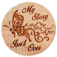 My Story Isn't Over - Semi Colon Butterfly Laser Engraved Wooden Chip Magnet (Style 2)