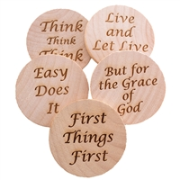 Laser Engraved Wooden Slogan Set Chips - Live and Let Live, But for the Grace of God, First Things First, Easy Does It, and Think...Think...Think