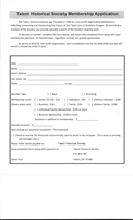 Downloadable Talent Historical Society Membership Application