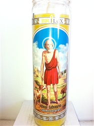 SAINT LAZARUS (SAN LAZARO) SEVEN DAY UNSCENTED YELLOW CANDLE IN GLASS